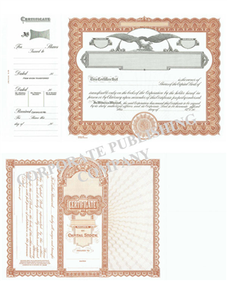Goes® 508 Brown Capital Stock Certificates