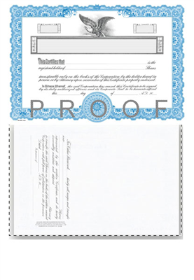 Goes® KG3 Blue Corporate Stock Certificates