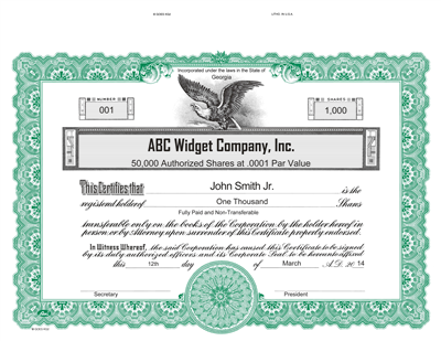 Goes® KG2 Custom Printed Stock Certificate