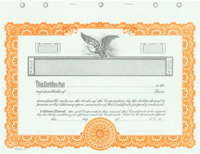 Goes® KG4 Custom Printed Stock Certificate