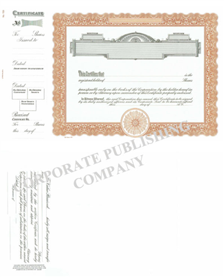 Goes® 723  Brown Panel Stock Certificate w/ Shares Text